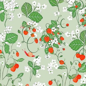 Wallpaper Strawberry Fields Almond Green Multicolour Little Cabari