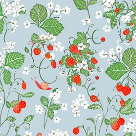 Wallpaper Strawberry Fields Light Blue  Multicolour Little Cabari