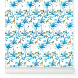 Wallpaper Tamtam Turquoise Blue Blue Little Cabari