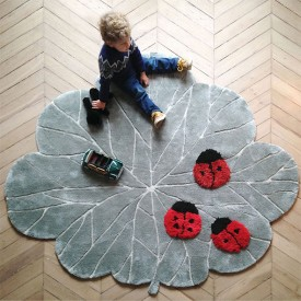 Ladybugs Rug Grey Little Cabari