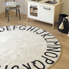 Round ABC Rug 150 cm - Natural / Black  Beige Lorena Canals
