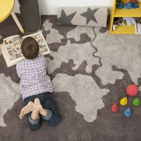 Map Rug 140 x 200cm - World Map Grey Lorena Canals