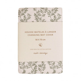 Changing Mat Cover - Bay Leaves Green Main Sauvage