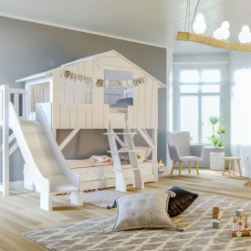 Treehouse Bunk Bed w/ Slide & Deck Multicolour Mathy by Bols