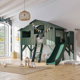Treehouse Bed w/ Slide & Deck Multicolour Mathy by Bols