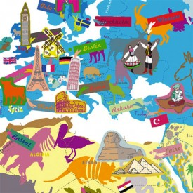 World map Multicolour MIMI'lou