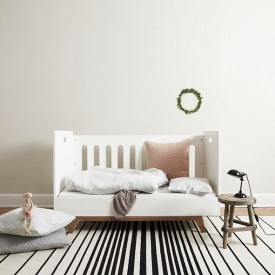 Convertible Baby Bed 70 x 140 cm with Conversion Kit - White White Mimm