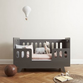 Convertible Baby Bed 70 x 140 cm with Conversion Kit - Light Grey Grey Mimm