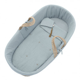 Moses Basket + Bed Linen - Sweet Blue Blue Numéro 74