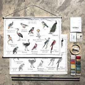 School Poster Kit Birds Canvas Multicolour Numéro 74