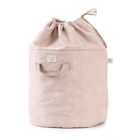 Bamboo Toy Bag - L - Bubble - Elements - Misty Pink / White Pink Nobodinoz