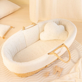 Padded Baby Moses Cover - Natural / Honey Dots White Nobodinoz