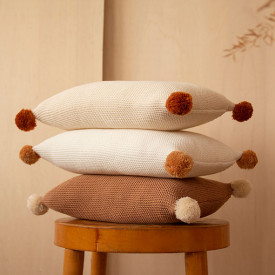 Knitted Cushion So Natural - Biscuit Brown Nobodinoz