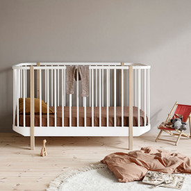 Wood Convertible Cot Bed - Oak White Oliver Furniture