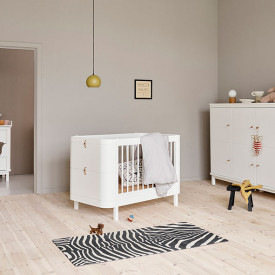Wood Mini+ convertible cot bed with conversion kit (0-9 Y)- White White Oliver Furniture