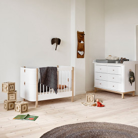 Wood Mini+ convertible cot bed with conversion kit (0-9 Y) - Oak White Oliver Furniture