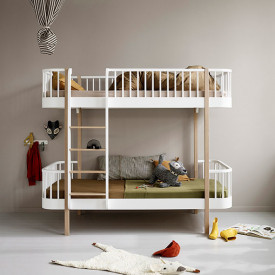 Wood Bunk Bed - Front Ladder - Oak White Oliver Furniture