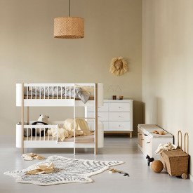 Mini+ Low Bunk Bed 68x162cm - Oak White Oliver Furniture