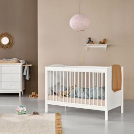 Seaside Lille+ Convertible Cot Bed with conversion kit (0-9 Y) White Oliver Furniture