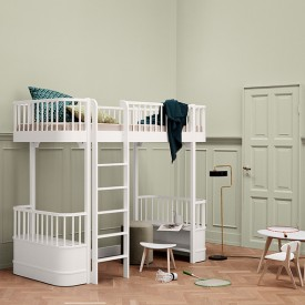 Wood Loft Bed - White White Oliver Furniture