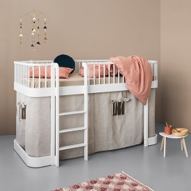 Wood Low Loft Bed (128cm) - White White Oliver Furniture