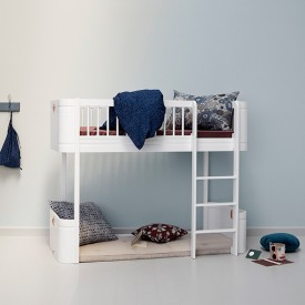 Wood Mini+ low loft bed (132 cm) - White White Oliver Furniture