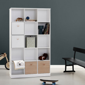 Wood Shelving Unit 3 x 5 White Oliver Furniture