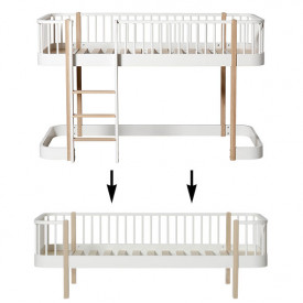 Wood Conversion Kit - Low loft bed to day bed - Oak White Oliver Furniture