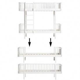 Wood Conversion Kit - Bunk bed to 1 single bed and 1 day bed - White White Oliver Furniture