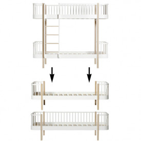 Wood Conversion Kit - Bunk bed to 1 single bed and 1 day bed - Oak White Oliver Furniture