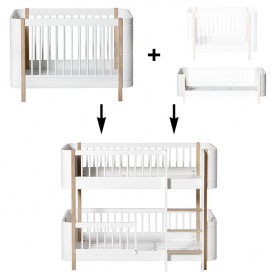Mini+ Conversion Kit - Cot bed + Sibling Kit to Low-bunk bed - Oak White Oliver Furniture