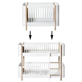 Mini+ Conversion Kit - Cot bed to Low-bunk bed - Oak White Oliver Furniture