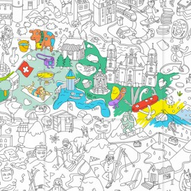 Giant Coloring Poster - Switzerland White OMY Design & Play