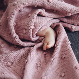 Popcorn Pram Blanket - Dusty Rose Pink Ooh Noo