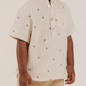 Mason Shirt Short Sleeves - Bees White Rylee + Cru