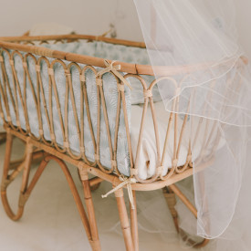 June Rattan Cradle w/ Canopy Stick Nature Saudara