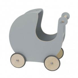Wooden Doll Pram - Grey Grey Sebra