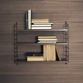 Pocket Shelf - Walnut / Black Brown String Furniture