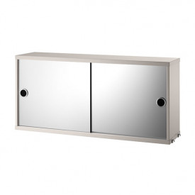 Cabinet w/ Mirror Doors 78 x 20 cm - Beige Beige String Furniture