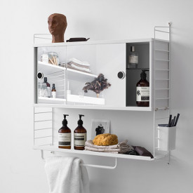 Cabinet w/ Mirror Doors 78 x 20 cm - White White String Furniture