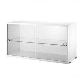 Cabinet w/ Glass Doors 78 x 30 cm - White White String Furniture