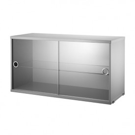 Cabinet w/ Glass Doors 78 x 30 cm - Grey Grey String Furniture