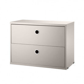 Chest w/ 2 Drawers 58 x 30 cm - Beige Beige String Furniture