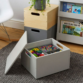 Kids Toy Storage Box - Pale Grey Grey Tidy Books