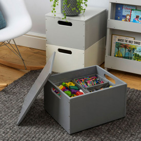 Kids Toy Storage Box - Dark Grey Grey Tidy Books