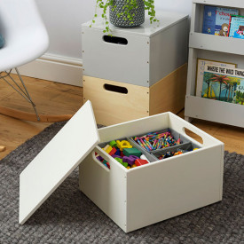 Kids Toy Storage Box - White White Tidy Books