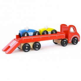 Truck & Trailer with 2 Cars Red Vilac