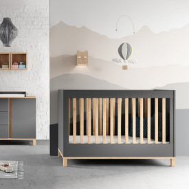 Crib 70 x 140 cm Altitude - Graphite / Oak Grey Vox