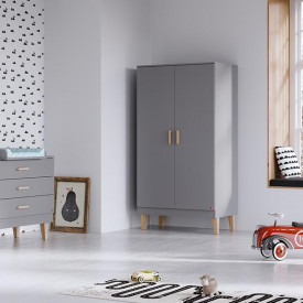 Wardrobe 2 Doors Lounge - Light Grey Grey Vox