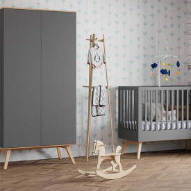 Wardrobe 2 Doors Nature - Anthracite Grey Vox